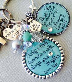 MOTHER of the BRIDE gift Mint green, PERSONALIZED gift, Mother of groom gift man of my dreams, today a bride,by buttonit
