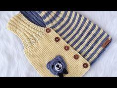 ÇOK KOLAY BEBEK YELEĞİ / UNİSEX BEBEK YELEĞİ - YouTube Baby Knitting Patterns, Baby Booties Knitting Pattern, Crochet Patterns, Baby Girl Cardigans, Baby Sweaters, Crochet For Kids, Crochet Baby, Toddler Outfits, Kids Outfits