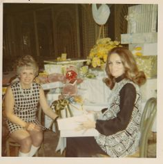 My Grandmother Verna in white Go Go Boots and my mother, Judi at the Bistro Gardens in Beverly Hills at my baby Shower - 1970 Mom And Baby, My Mom, The Bistro, My Grandmother, School Parties, Beverly Hills, 1970s, The Past, Baby Shower