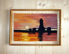 Vintage Framed woven Wall Hanging wool needlepoint landscape