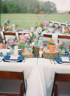 Southern wedding - wildflower centerpieces