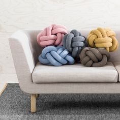 Design House Stockholm Knot Cushion The Knot Cushion by Design House Stockholm is a cushion with a unique character, based on sculptural form instead of patterns. Knot is made from a knitted tube, several meters in length, which is then tied up to create a compact knot which is as comfortable as a support in the sofa as it is elegant to behold. Knot Cushion was designed by Ragnheiður Ösp Sigurðardóttir. Knot Cushion, Knot Pillow, Home Decor Accessories, Decorative Accessories, Decorative Knots, Design House Stockholm, Design3000, Big Yarn, Do It Yourself Inspiration