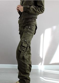 New 2014 plus size Army Green Denim fatigue cargo pants women's overall,hip hop sport loose jeans baggy camo pants for women-in Pants & Capris from Apparel & Accessories on Aliexpress.com