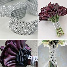 Silver diamond rhinestone ribbon wrap