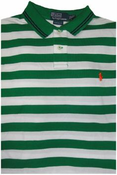 e7521f37be9 Polo by Ralph Lauren Men s Short Sleeve Shirt Green and White Stripes