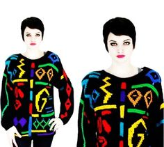 Vintage 80s Bedazzled Sweater Black Oversized Gem Slouchy Sweater