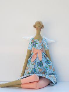 Fabric angel doll Tilda style blonde cloth by HappyDollsByLesya