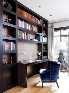 A bespoke bookcase built for home office storage