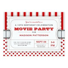 Movie Birthday Invitations Movie Party Birthday Party Admission Ticket | Red Card