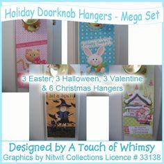 Halloween, Christmas, Easter and Valentine's Day door hangers mega set