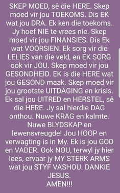 Prayer For Wife, Afrikaanse Quotes, Goeie More, Sweet Words, Prayers, Lisa, Spirituality, Bible, Inspirational