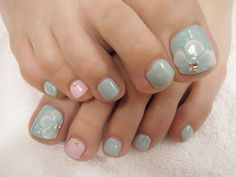 Blue and pink toe nails