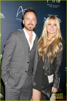 Aaron Paul & Matt Lanter: 'Zarkana' Vegas Premiere: Photo Aaron Paul and his fiance Lauren Parsekian arrive at the premiere of Zarkana by Cirque du Soleil held at the Aria Resort & Casino at CityCenter on Friday (November… Aaron Paul, Hair Inspo, Hair Inspiration, Pretty Hairstyles, Curled Hairstyles, Curls For Long Hair, Beautiful Couple, Celebrity Couples, Cut And Style