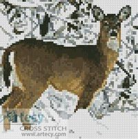 Artecy Cross Stitch. Mini Deer in snow Cross Stitch Pattern to print online.