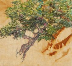 twisting tree , Fran Brammer, summer 15 Freehand Machine Embroidery, Textile Artists, Landscape, Painting, Summer, Summer Time, Painting Art, Summer Recipes, Landscape Paintings