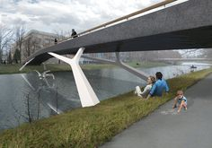 pedestrian bridge over the Labe - designed by MOAD architects