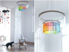 The Maria S.C. lamp, designed by Pani Jurek, looks like a crystal chandelier but is actually made from chemistry test tubes!