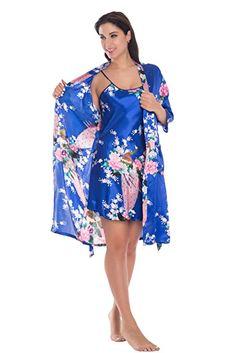Yukata Womens Gorgeous Loungewear 2PC Set Sleepwear Camisole & Robe, Royalblue S