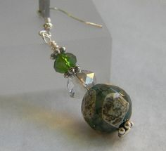 Green Agate Pearl and Crystal Earrings by jewelrysldesigns on Etsy, $9.95