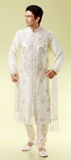 Designer Off white art silk embroidered kurta and pyjama....Unique sherwani for men's...Available at-> http://www.indianweddingsaree.com/SherwaniProduct/11129.html
