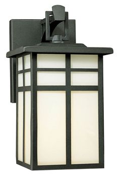 Thomas PL91047 Mission Fluorescent Black 10 Inch Tall Craftsman Style Outdoor Sconce Lighting