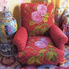 Stunningly gorgeous needlepoint chair by designer Kaffe Fassett.