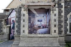 Large scale mixed media paintings on buildings that are listed for imminent demolition by New Zealand artist, Mike Hewson.
