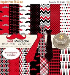 **CHECK OUT my shops profile for promo / coupon codes: https://www.etsy.com/shop/JennyLDesignsShop These Necktie and Mustache Digital Papers, Little Man, Boy Birthday, Fathers Day Digital papers and Clipart, Scrapbooking Party Theme 12x12 Printable Digital background papers are ideal for creating various art projects such as scrapbook layouts, invitations, greeting card, labels, gift tags, stickers, and more. PRODUCT DESCRIPTION • • • • • • • • • • • • • • • • • • ...