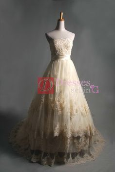 Embroidery Strapless Ball Gown Unusual Non Traditional Champagne Wedding Dress