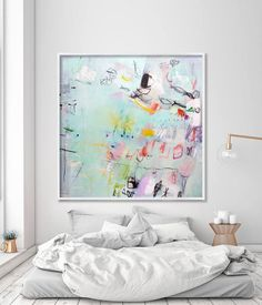 "large ABSTRACT print of Mint green painting Giclée print up to 40x40"", modern Painting, Abstract Art pink fishes sea"