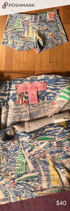 Lilly Pulitzer Printed Shorts Fun, printed shorts. Perfect condition! Back zipper, thick hem if you want to add any length. Flat front with pockets. Super flattering! Lilly Pulitzer Shorts