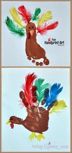 FREE IDEA Make a footprint turkey and a handprint turkey using feathers! #HandprintHolidays #thanksgiving