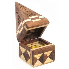Temple Incense Cone Burner - Jointed Wood. This beautifully made cone incense burner is made from local Indian wood and made for burning all your incense cones safely. £4.95