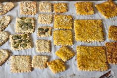 Any Way You Like 'Em Crackers *Whole wheat flour *All purpose flour *Baking powder *Brown sugar *Herbs of choice such as basil, parsley, thyme, Italian seasoning *Nutritional yeast (optional) *Flax *Sesame seeds *Almond milk *Olive oil *Garlic *Vegan butter *Pumpkin & cinnamon (for pumpkin crackers if desired) *Seeds to top: pepitas, poppy seeds, sesame seeds
