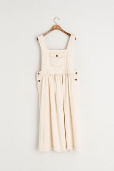 Pocket Point Flair Dungaree Dress, Ivory Dungaree Dress, Dungarees, Ivory, Dreams, Pocket, Summer Dresses, Group, Pretty, Cotton