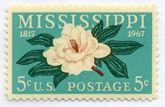 Vintage Mississippi US postage stamp. Postage Stamp Design, Going Postal, Vintage Stamps, Rare Stamps, Tampons, Stamp Collecting, Mail Art, Ephemera, Prints