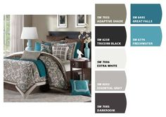 Palette from our inspiration photo. Grays on the wall, brown on the bed, teals in accents.