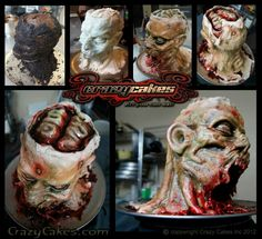 Zombie Protein What we have here is a life size decapitated Zombie Head. 55 servings of our double dark chocolate stout beer cake! Halloween Cakes, Scary Halloween, Halloween Treats, Halloween Party, Halloween Decorations, Scary Cakes, Zombie Cakes, Gross Cakes, Horror Cake
