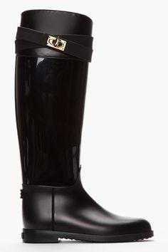 GIVENCHY Black Matte & Patent Rubber Sharklock Rain Boots