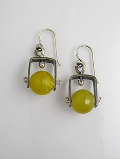 Short Climb Earrings with Olive Jade: Erica Stankwytch Bailey: Silver & Stone Earrings - Artful Home