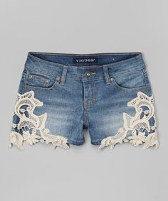 Look at this Vigoss Antique Wash Side Crochet Denim Shorts on #zulily today!