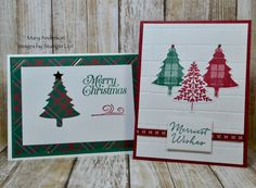 Stampin' Up! Christmas Tree Cards, Stampin Up Christmas, Plaid Christmas, Images Of Mary, Card Maker, Card Ideas, Catalog, Merry, Holiday