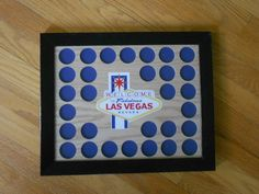 30 Poker Chip Display Frame for Casino/Harley chips Viva Las Vegas! by CarvedByHeart