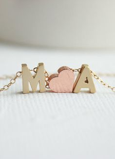 Gold Initial Necklace Couples Necklace Love