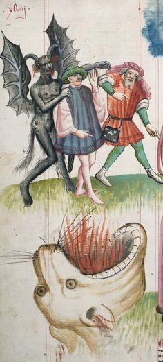 Heidelberg / Universitätsbibliothek Heidelberg, Cod. Pal. germ. 471, detail of fol. 047v. Hugo von Trimberg, Der Renner (The Runner/Courier). Nürnberg, 1425-1431.