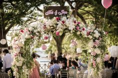 Pink and white wedding flower arch by Boenga | Pink and White Wedding at Shangri-La's Rasa Sentosa Resort: Tris and Jacqueline