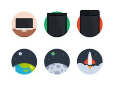 Flat Iconset, mobile, computer, ipad, space, icons
