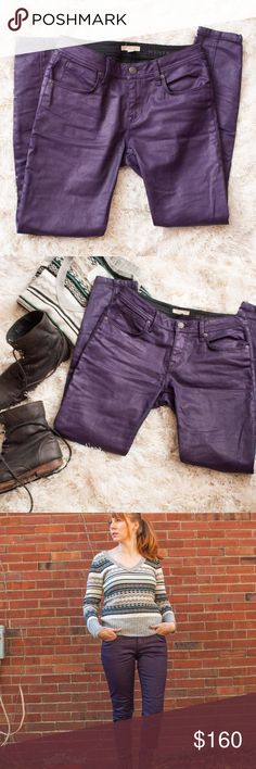 Burberry Purple Coated Skinny Jeans Structured wax coated skinny jeans in a dark purple by Burberry. Perfectly tailored and hardy material with a slight stretch.  Mid-rise waist. Wax coating doesn't feel greasy and gives them a little sheen.   Hardly worn, no visible damage. Burberry Jeans Skinny