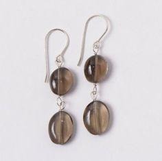 Smoky Quartz & Sterling Silver Earrings #fallstyle #warmcolors #frenchwire #earrings www.jewelya.com
