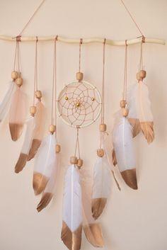 Wall Hanging Dreamcatcher, Large Dreamcatcher, Driftwood Decor, Baby Girl Nursery, White Nursery Decor, Baby Shower Gift, Bohemian Decor,
